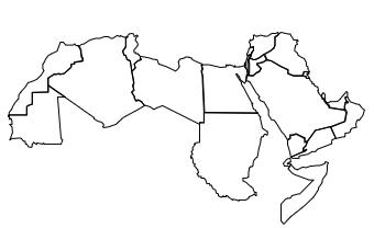 Aire culturelle arabe: carte illustrant ses limites.